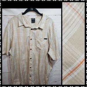 🔥 Oakley XXL Button front tan short sleeve shirt